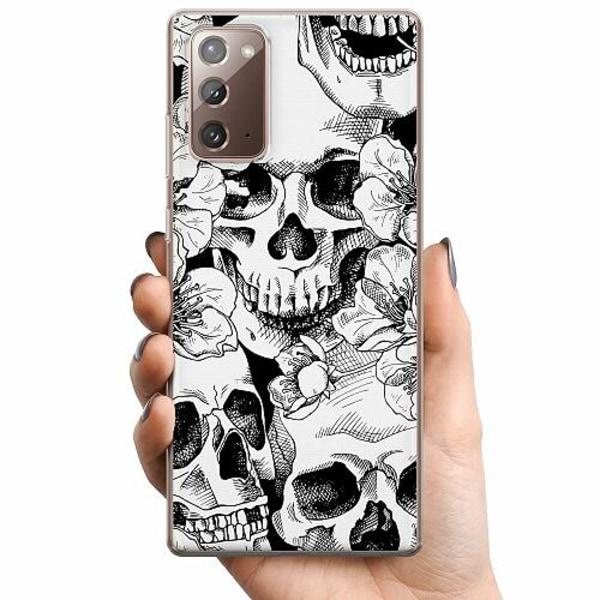Samsung Galaxy Note 20 TPU Mobilskal White Skulls & Flowers
