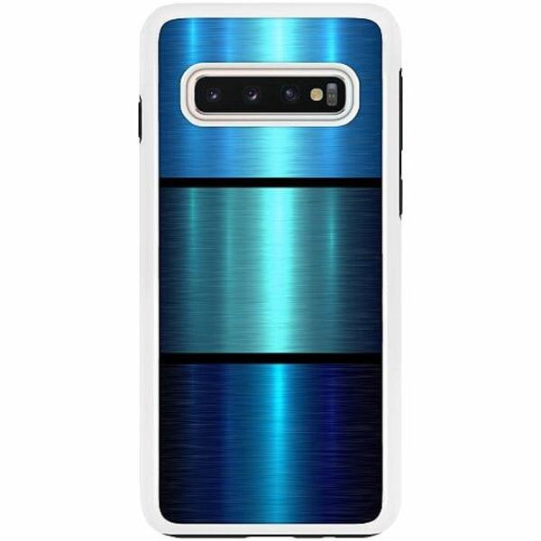 Samsung Galaxy S10 Duo Case Vit Blue Metallic Stripes