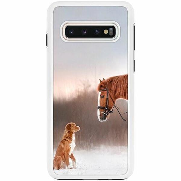 Samsung Galaxy S10 Duo Case Vit Häst & Hund