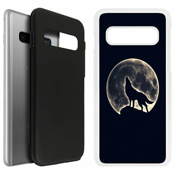 Samsung Galaxy S10 Duo Case Vit Howling Moon Wolf