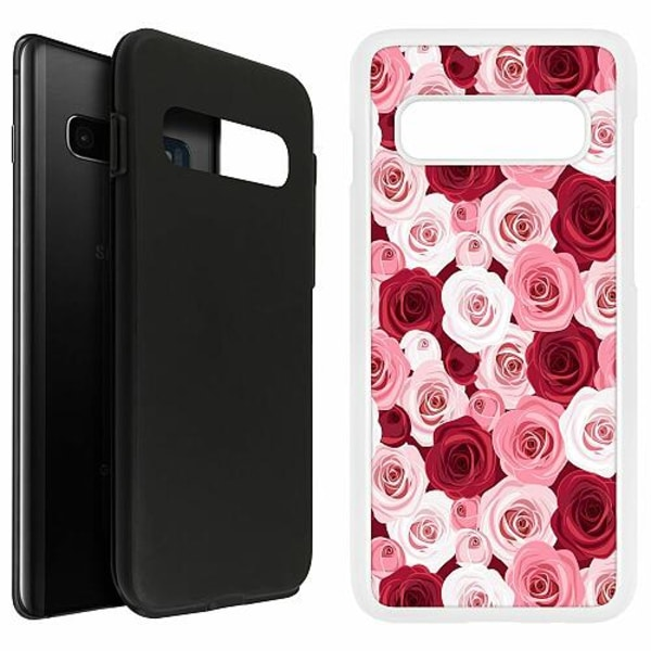Samsung Galaxy S10 Plus Duo Case Vit Blommor