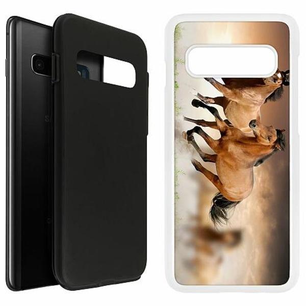 Samsung Galaxy S10 Plus Duo Case Vit Hästar