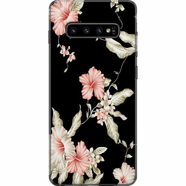 Samsung Galaxy S10 Plus Mjukt skal - Floral Pattern Black