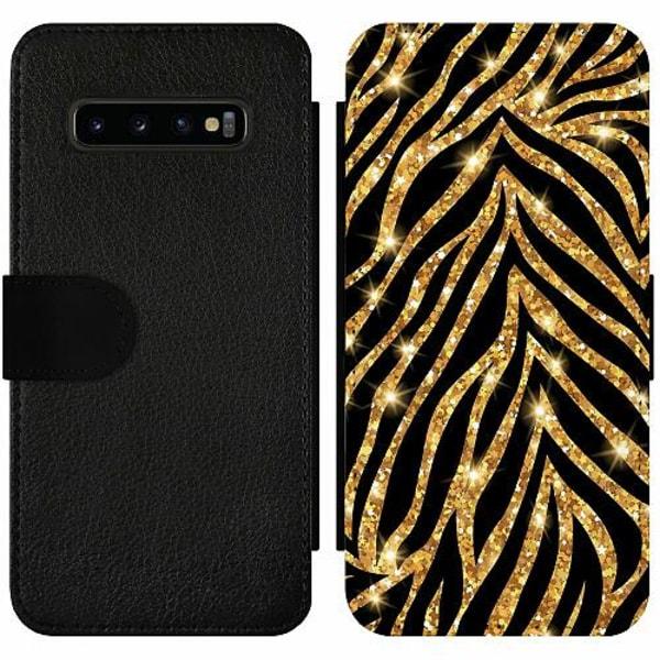 Samsung Galaxy S10 Plus Wallet Slim Case Gold & Glitter