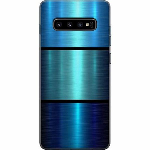 Samsung Galaxy S10 Plus Mjukt skal - Blue Metallic Stripes