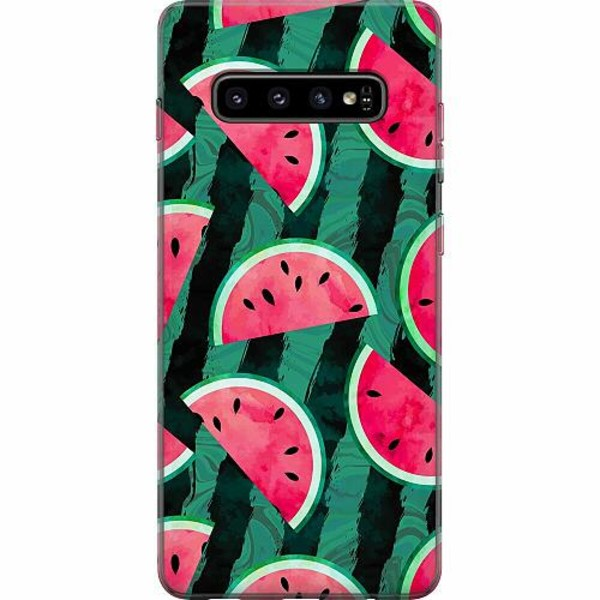 Samsung Galaxy S10 Plus Mjukt skal - Crazy for Watermelon
