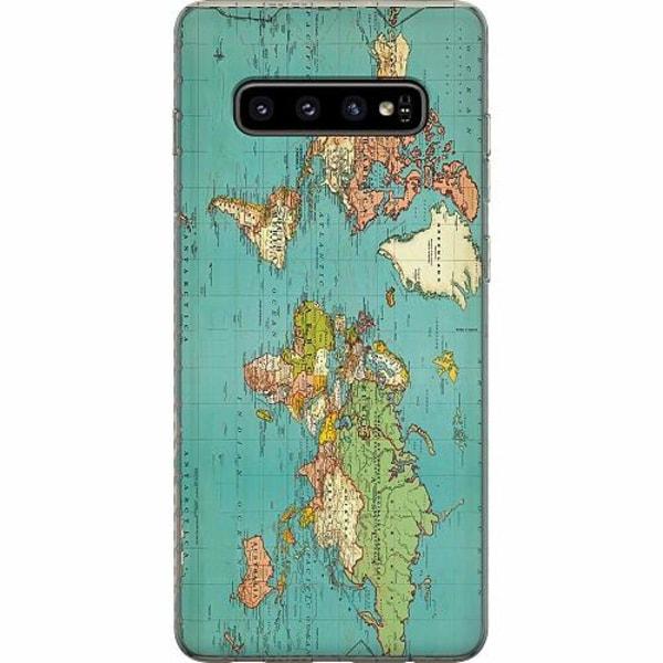 Samsung Galaxy S10 Plus Mjukt skal - World Map