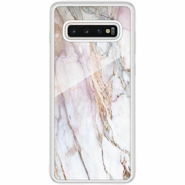 Samsung Galaxy S10 Transparent Mobilskal med Glas Marmor