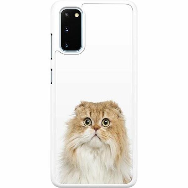 Samsung Galaxy S20 Hard Case (Vit) PopUp Scared Cat