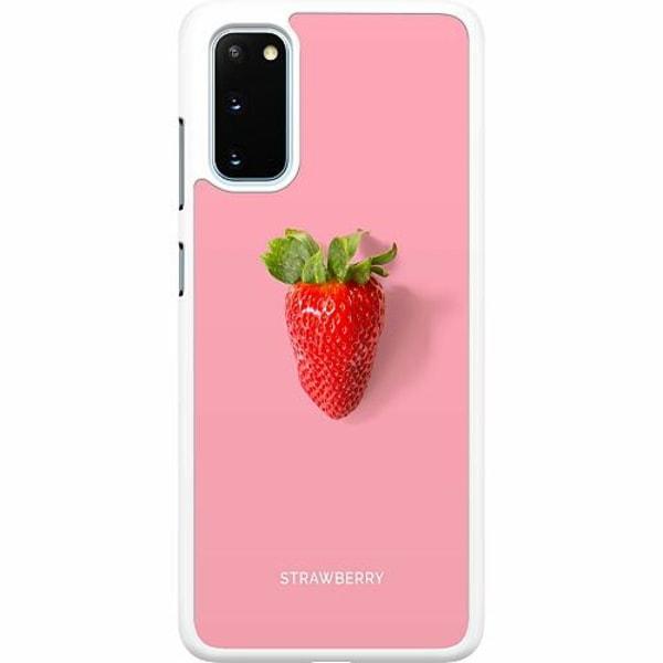 Samsung Galaxy S20 Hard Case (Vit) Strawberry