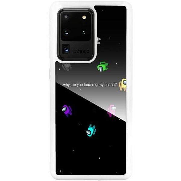 Samsung Galaxy S20 Ultra Vitt Mobilskal med Glas Among Us