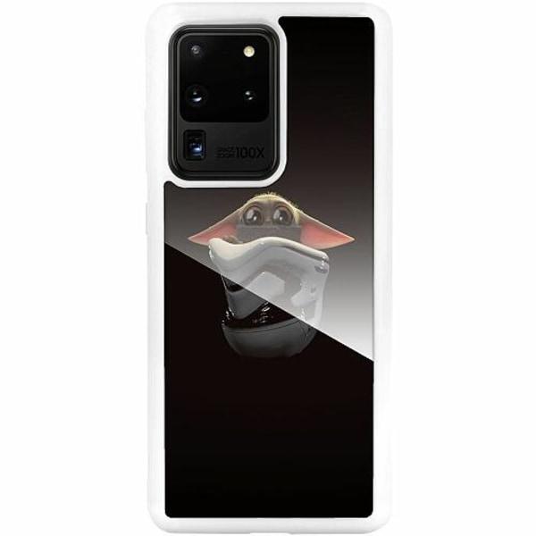 Samsung Galaxy S20 Ultra Vitt Mobilskal med Glas Baby Yoda