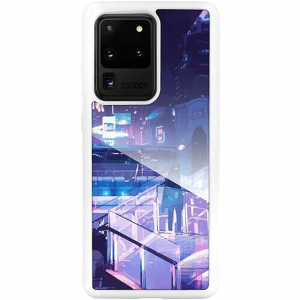 Samsung Galaxy S20 Ultra Vitt Mobilskal med Glas Cyberpunk 2077