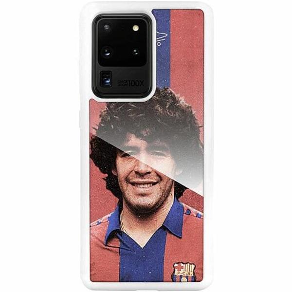 Samsung Galaxy S20 Ultra Vitt Mobilskal med Glas Diego Maradona