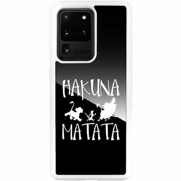 Samsung Galaxy S20 Ultra Vitt Mobilskal med Glas Hakuna Matata