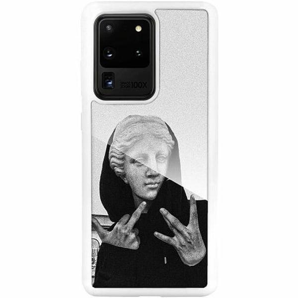 Samsung Galaxy S20 Ultra Vitt Mobilskal med Glas Hello!