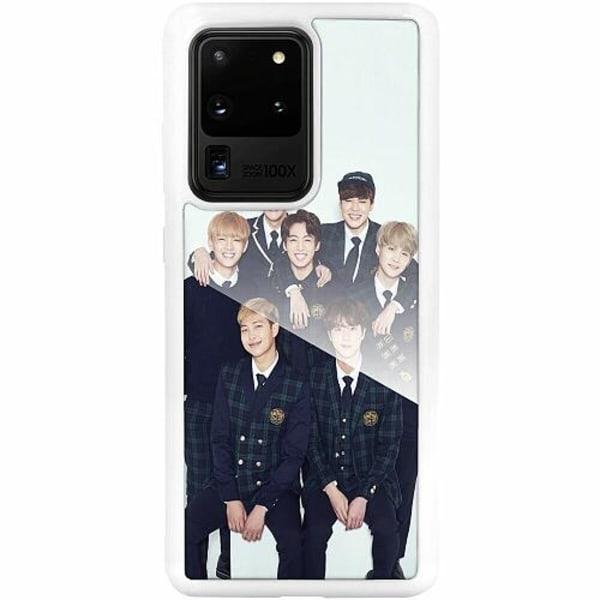 Samsung Galaxy S20 Ultra Vitt Mobilskal med Glas K-POP BTS