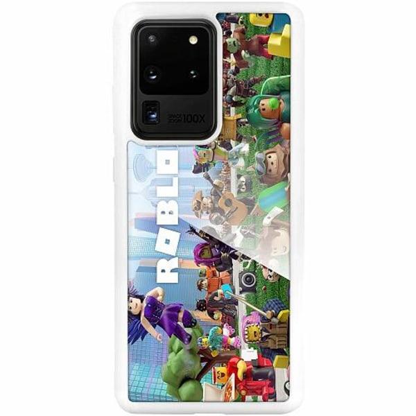 Samsung Galaxy S20 Ultra Vitt Mobilskal med Glas Roblox