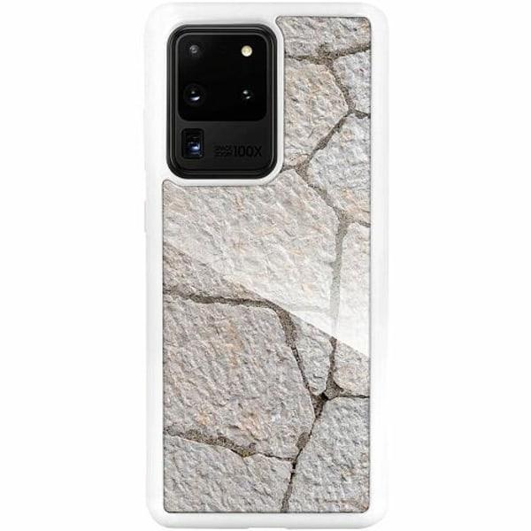 Samsung Galaxy S20 Ultra Vitt Mobilskal med Glas Sidewalk