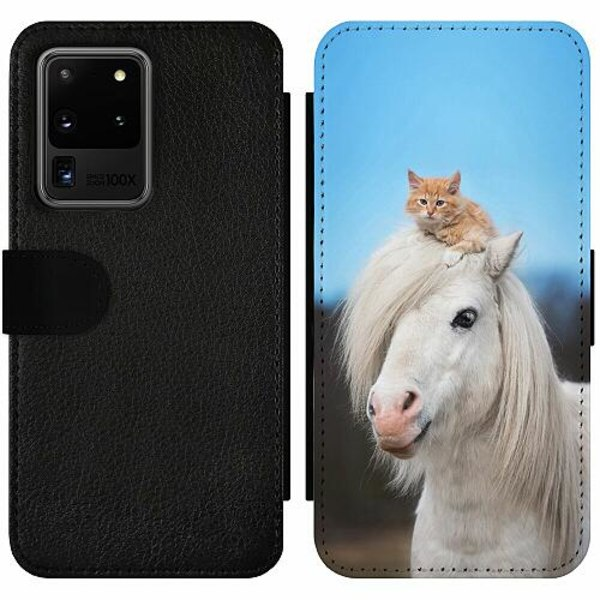 Samsung Galaxy S20 Ultra Wallet Slim Case Horse with CatHat
