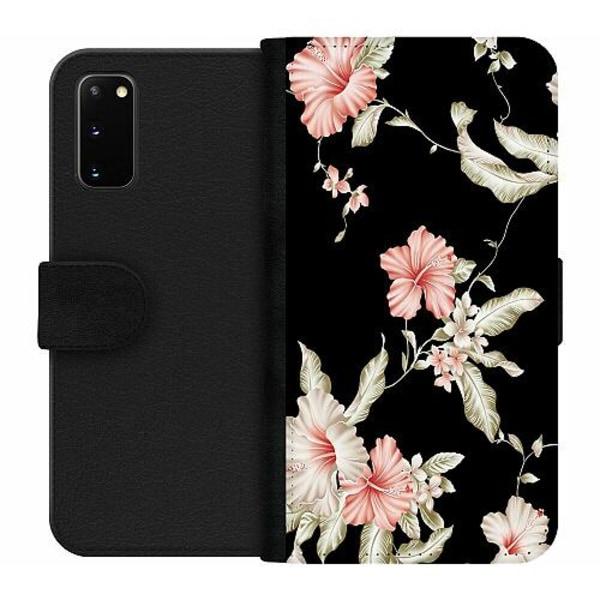 Samsung Galaxy S20 Wallet Case Floral Pattern Black