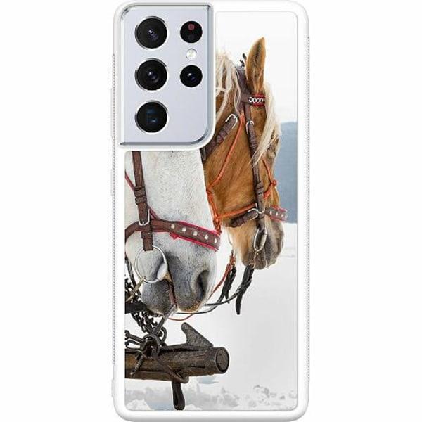 Samsung Galaxy S21 Ultra Soft Case (Vit) Häst / Horse