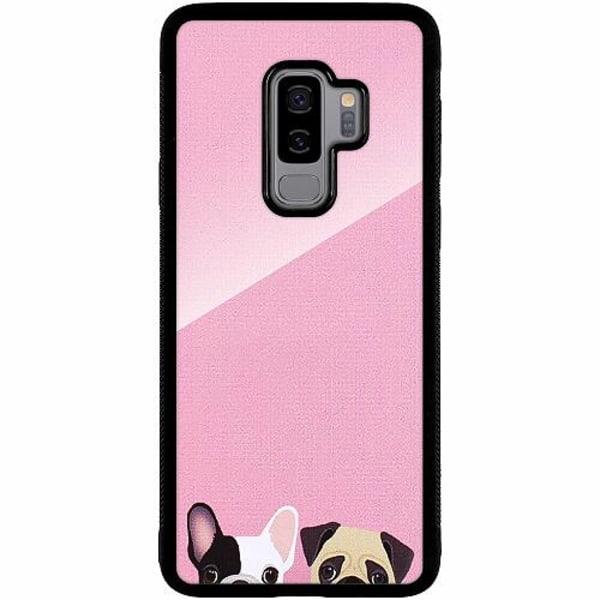 Samsung Galaxy S9+ Svart Mobilskal med Glas Hundar