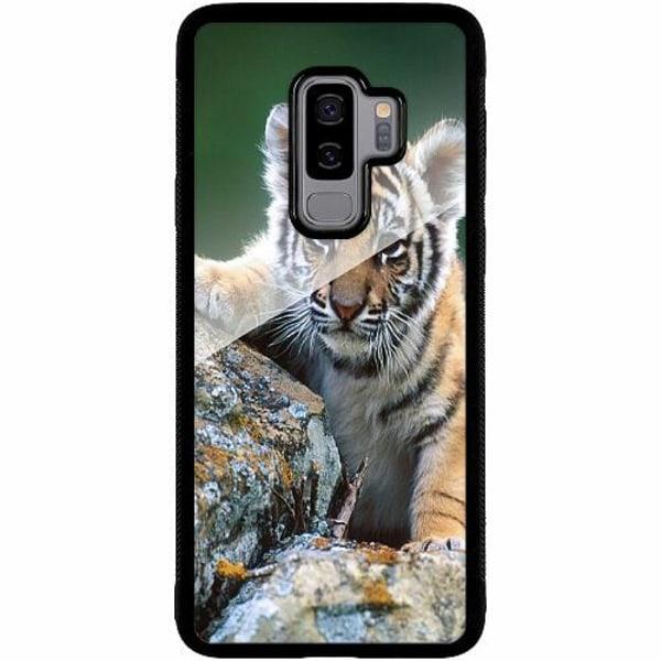 Samsung Galaxy S9+ Svart Mobilskal med Glas Tiger