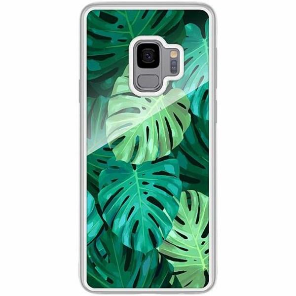 Samsung Galaxy S9 Transparent Mobilskal med Glas Löv
