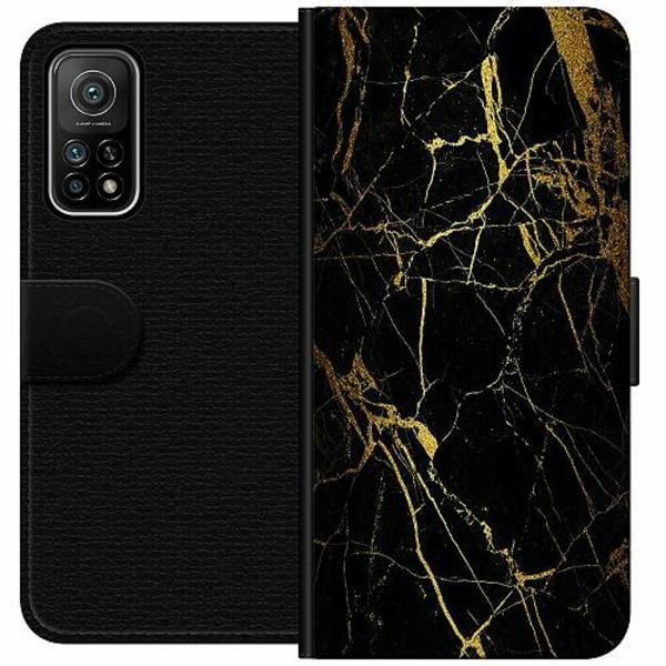 Xiaomi Mi 10T Pro 5G Wallet Case Marble Black&Gold