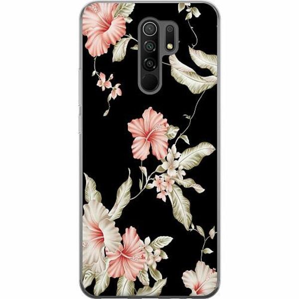 Xiaomi Redmi 9 Mjukt skal - Floral Pattern Black