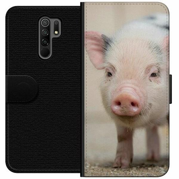 Xiaomi Redmi 9 Wallet Case Happy Pig