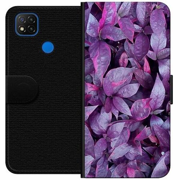 Xiaomi Redmi 9C Wallet Case Purple Shrubs