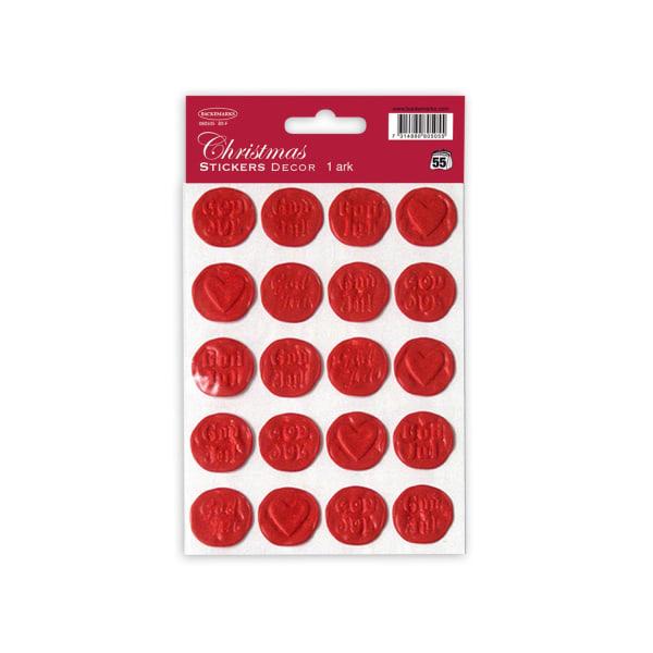 No1  2-pack (24st) Jul Stickers Sigill God Jul /Hjärtan   Röd