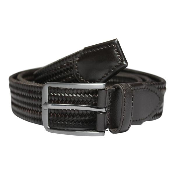 No1 Elastiskt bälte/skärp Mörkrun Äkta Läder  3 olika längder  Brown Längd: 90 cm  (90-117 cm)