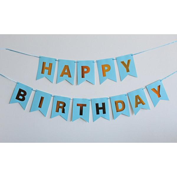 Vimpel Girland, Grattis på födelsedagen bokstäver (Ljusblå)