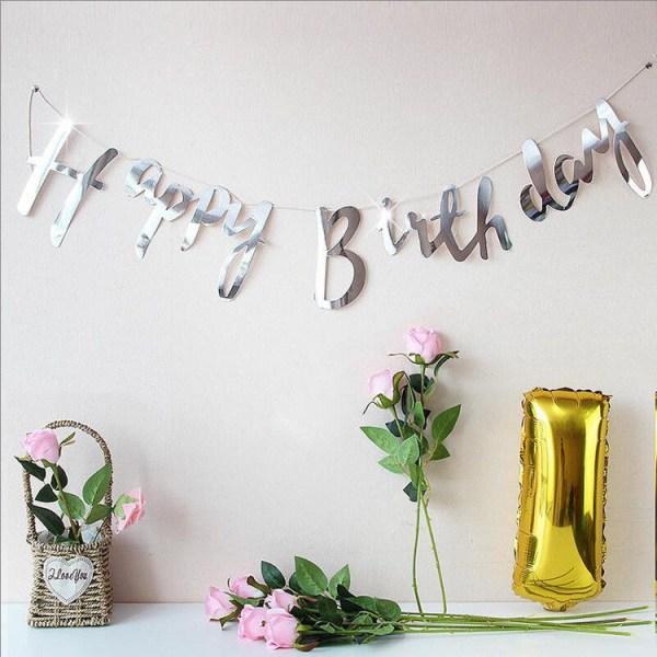 Silver Happy Birthday Girlang 1,8m Kursiv Stil