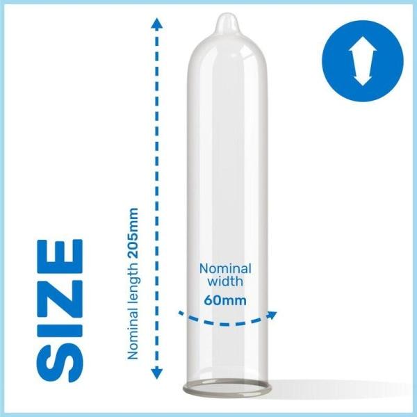Pasante King Size Kondomer 12-Pack Bredare Och Längre Transparent