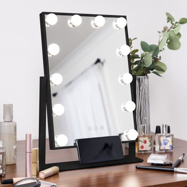 Sminkspegel med dimbar belysning - Makeup Spegel - Svart
