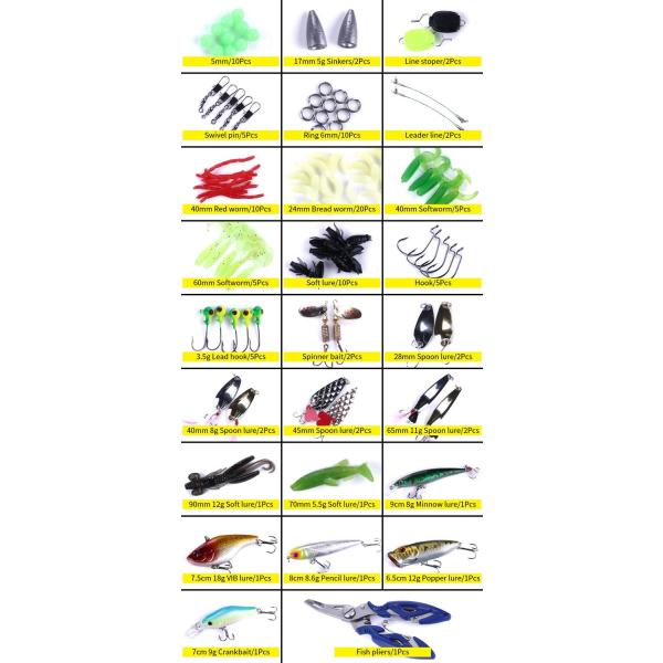 110-pack med fiskedrag och tillbehör - Fishing lures