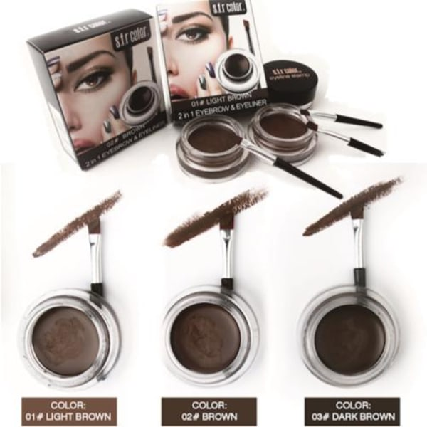 Ögonbrynsgel - Eyebrow pomade - 2in1 Eyeliner Dark Brown
