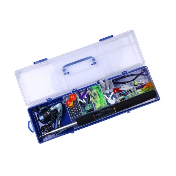 150 delar - fiskelåda med fiskespö och rulle