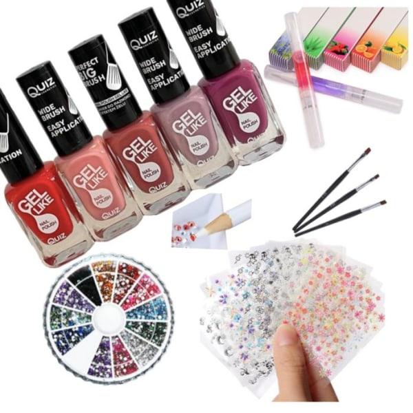 Kynsisarja - sisustuspakkaus - kynsilakka, tekojalokivi, kynsiliput Multicolor