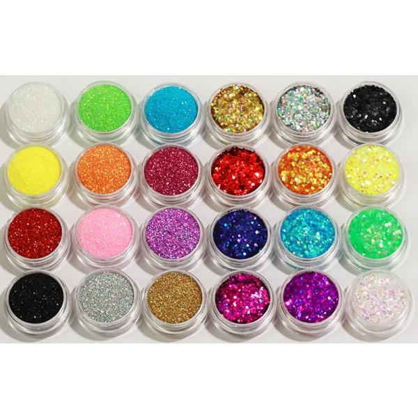 24 st burkar glitter för nageldekoration finkornigt / hexagon