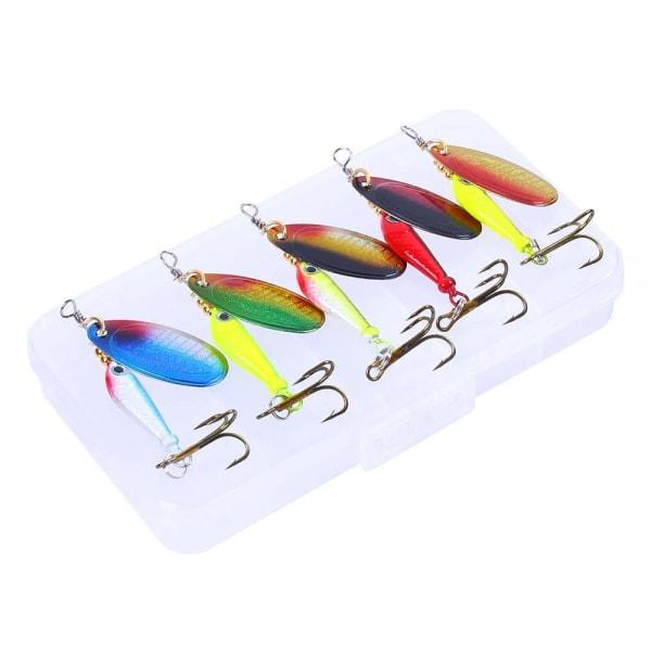 5 st Spinnare i en praktisk låda, fina fiskedrag