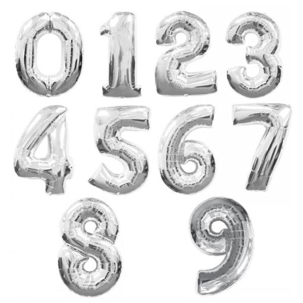 Ballonger siffror 0-9 | Silver & Guld | Födelsedagsballonger Silver - 4