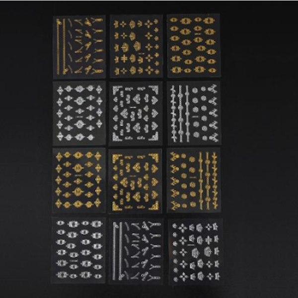 6st ark stickers Silver / Guld nageldekorationer