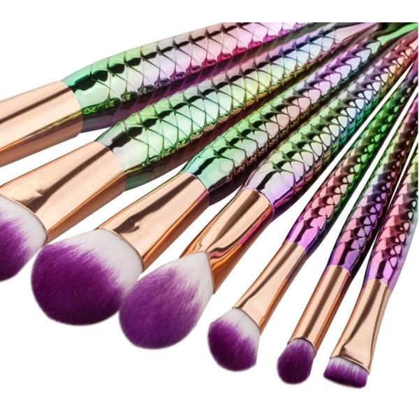 7st Sminkborstar - Mermaid flerfärgade multifärg