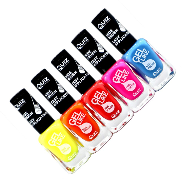 5st nagellack, nail polish - Neon multifärg
