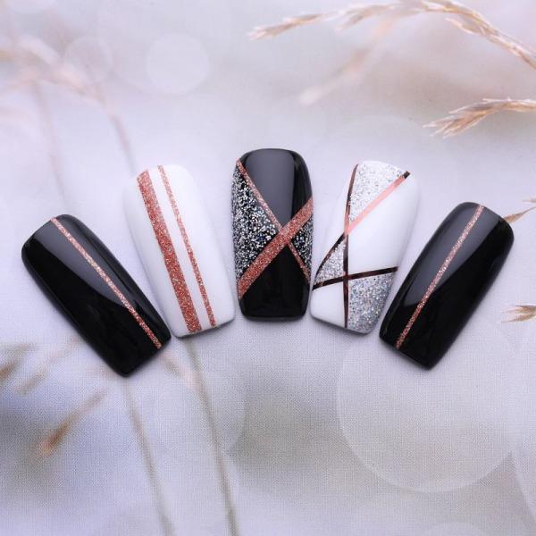 4st rullar nageltejp - Rosé - Glittrig striping tape